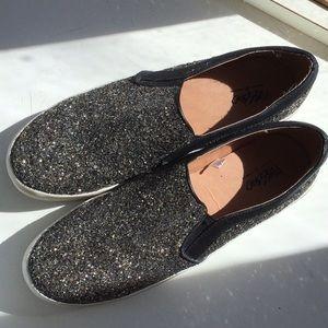 Black and gold glitter platform loafers size 9